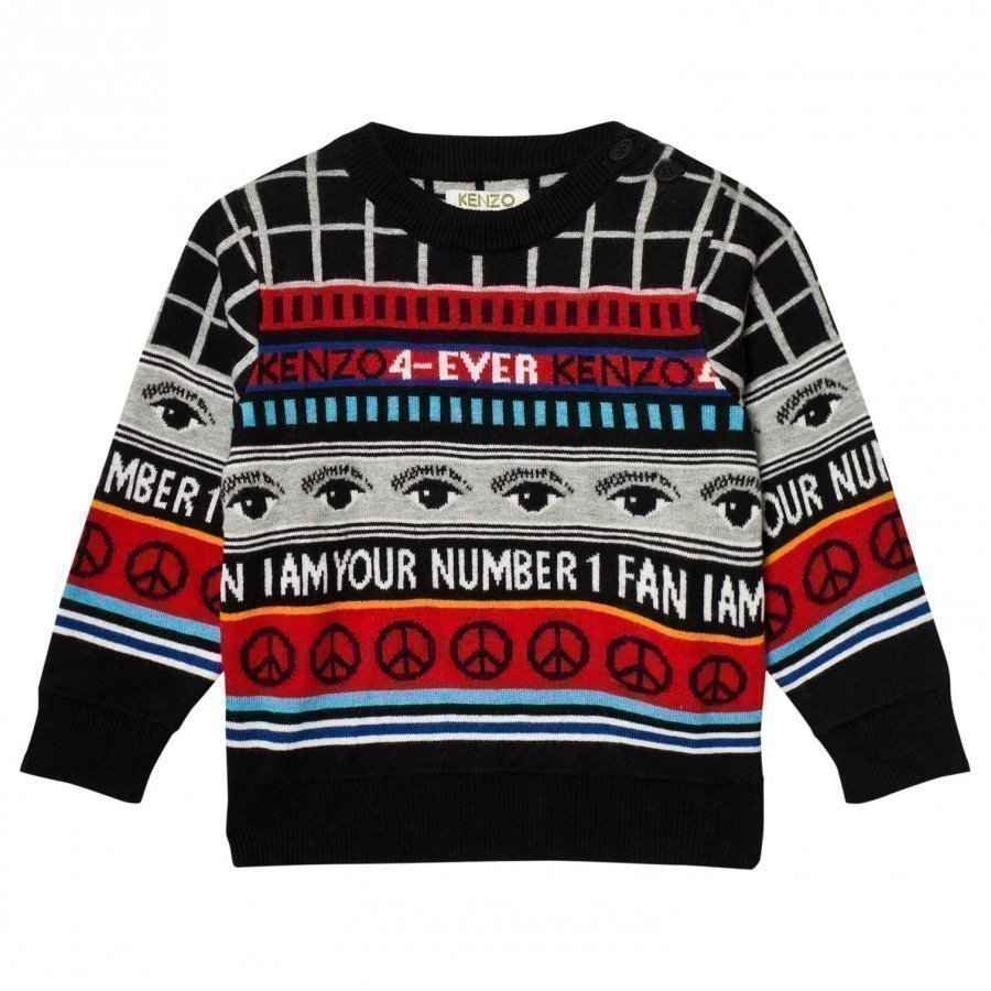 Kenzo Black Logo Knit All Over Sweater Paita