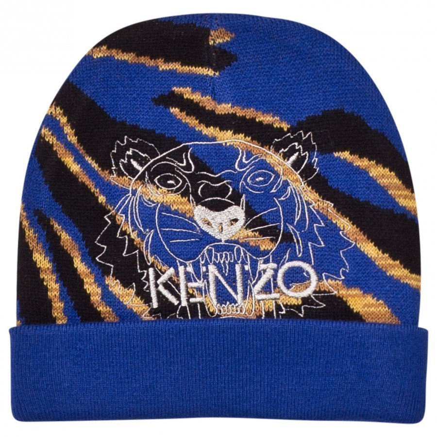 Kenzo Blue Tiger Embroidered Beanie Pipo