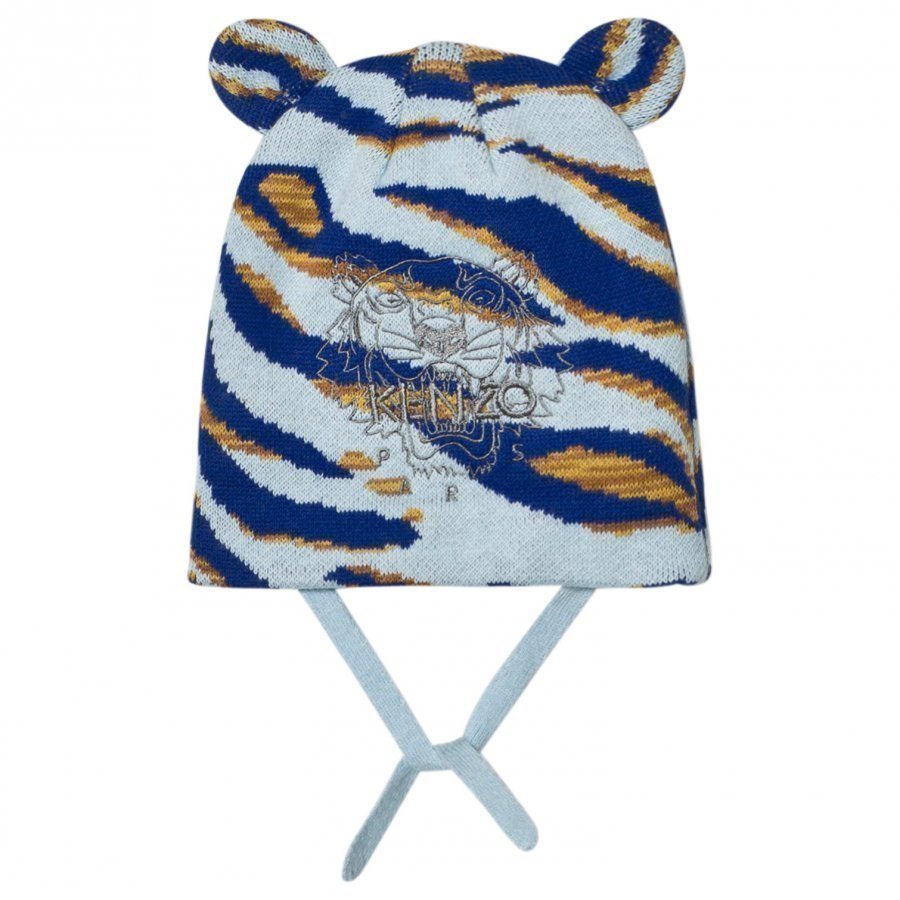 Kenzo Blue Tiger Embroidered Beanie With Ears Pipo