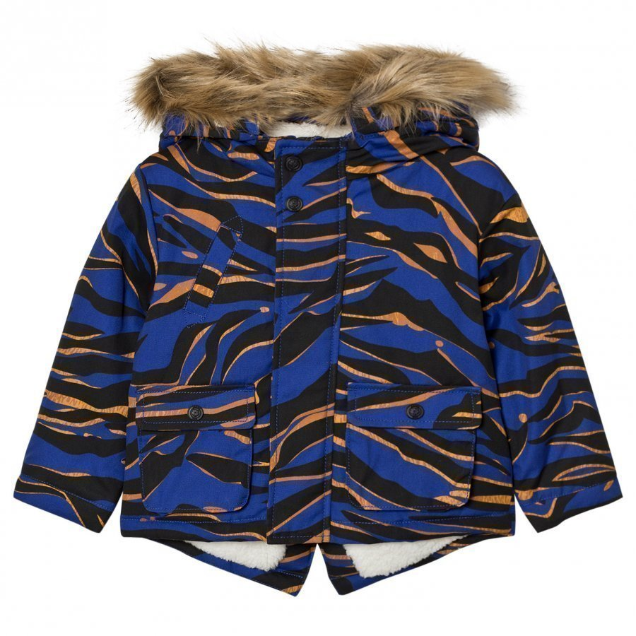 Kenzo Blue Tiger Print Parka With Fleece Lining Parkatakki