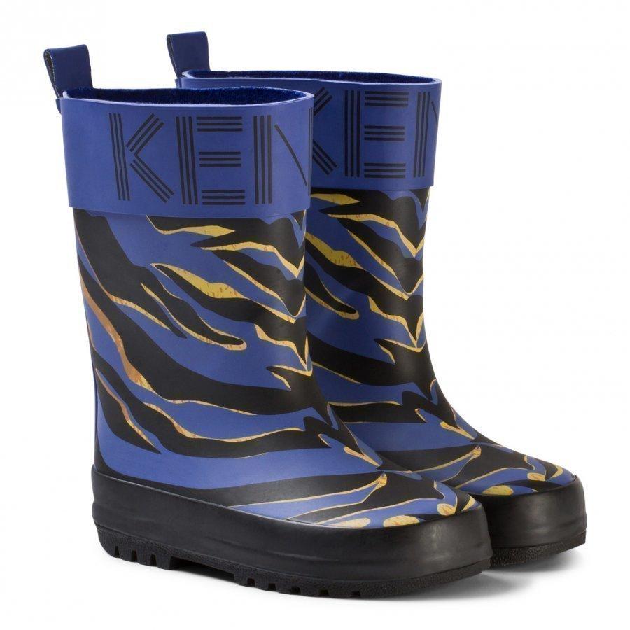 Kenzo Blue Tiger Print Rain Boots Kumisaappaat
