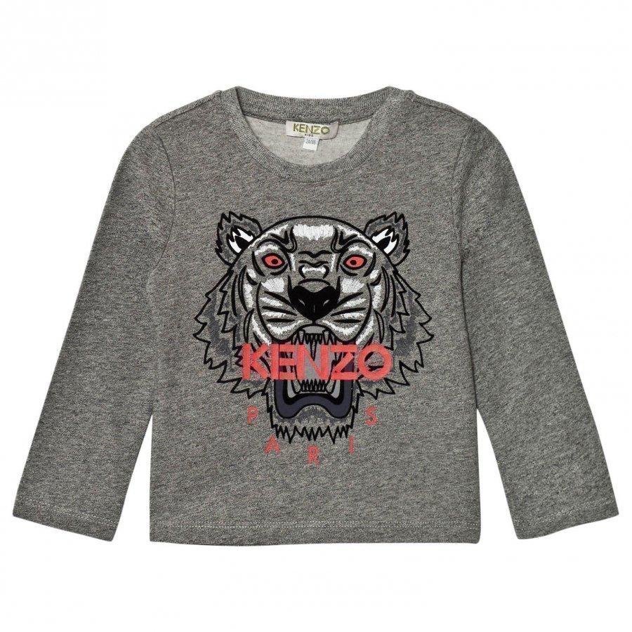 Kenzo Dark Grey Marl Embroidered Tiger Print Tee Pitkähihainen T-Paita