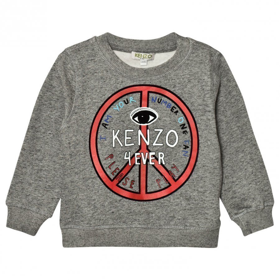 Kenzo Dark Grey Marl Logo Peace Sign Sweatshirt Oloasun Paita