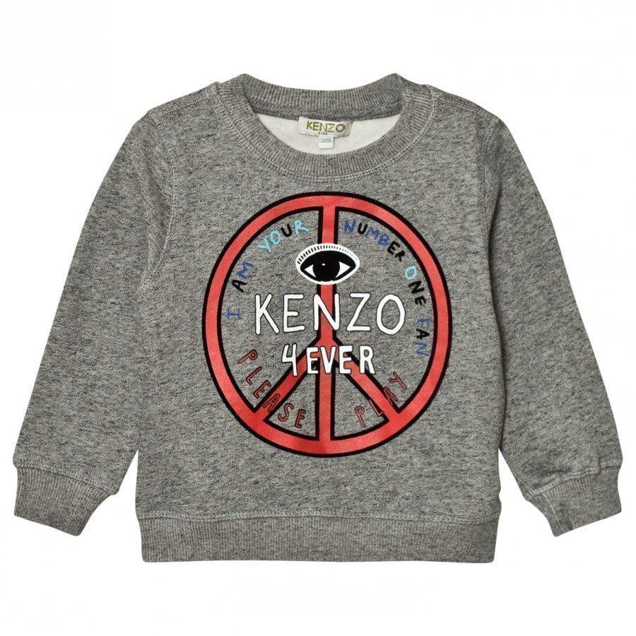Kenzo Dark Grey Marl Logo Peace Sign Sweatshirt Oloasun Paita