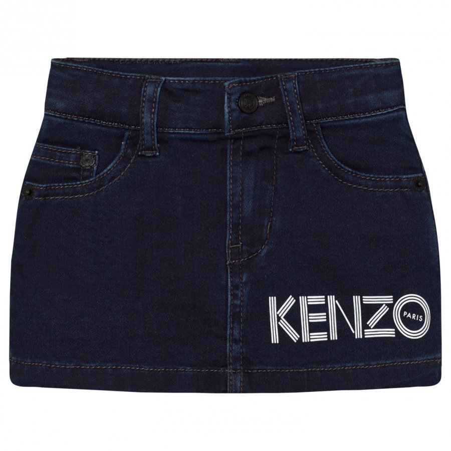 Kenzo Dark Indigo Branded Denim Skirt Farkkuhame