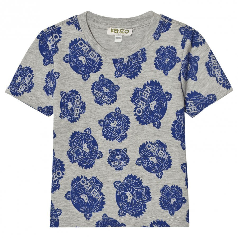 Kenzo Grey Blue All Over Tiger Print Tee T-Paita