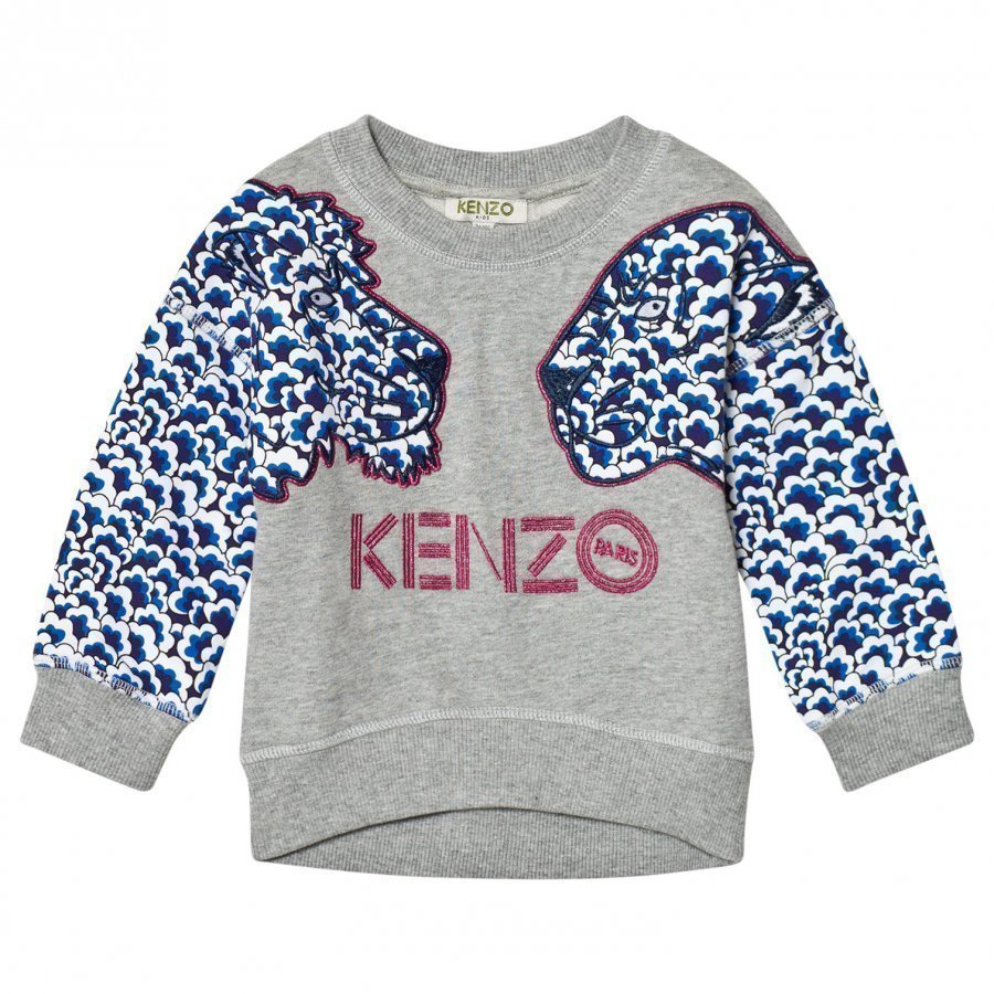 Kenzo Grey Cloud Tiger Applique Sweatshirt Oloasun Paita