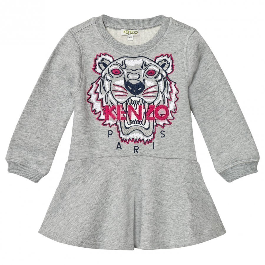 Kenzo Grey Embroidered Tiger Sweat Dress Mekko