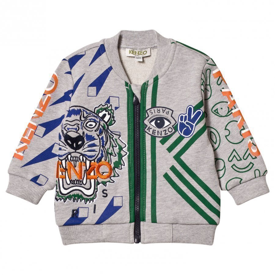 Kenzo Grey Marl All Over Icons Print Bomber Jacket Bomber Takki