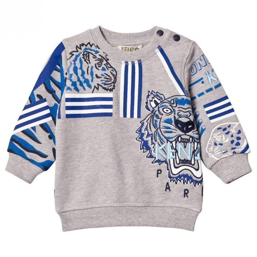 Kenzo Grey Marl All Over Icons Print Sweatshirt Oloasun Paita