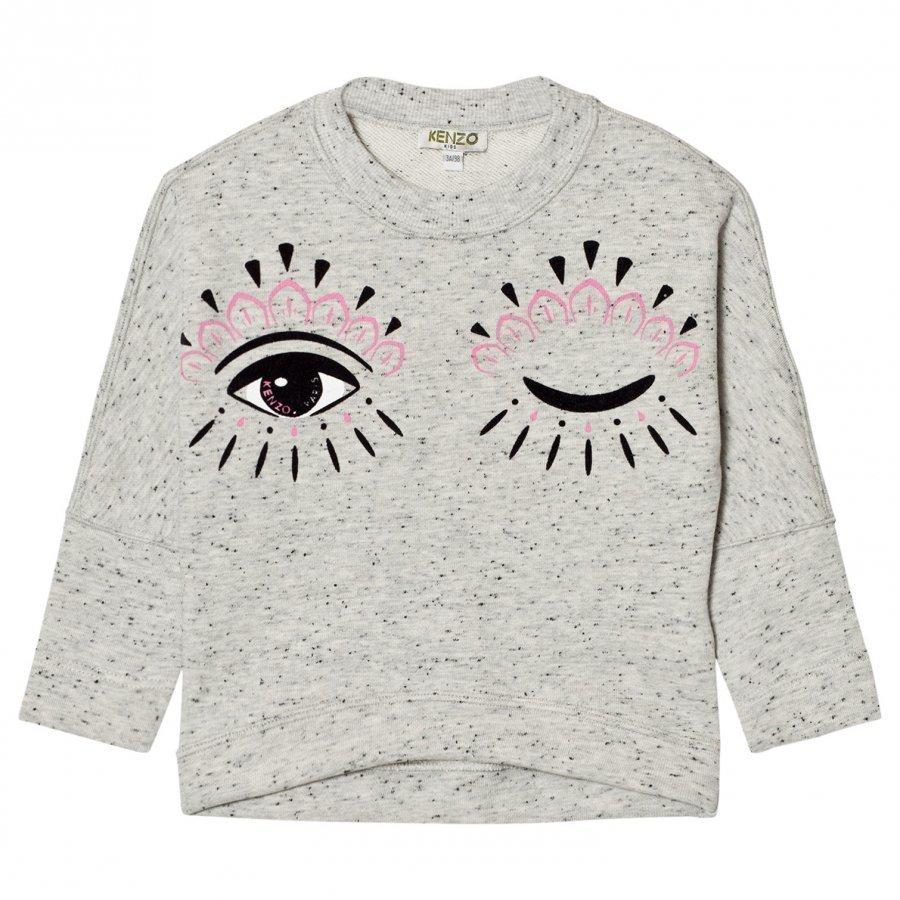 Kenzo Grey Marl Eye Print Drop Hem Sweatshirt Oloasun Paita