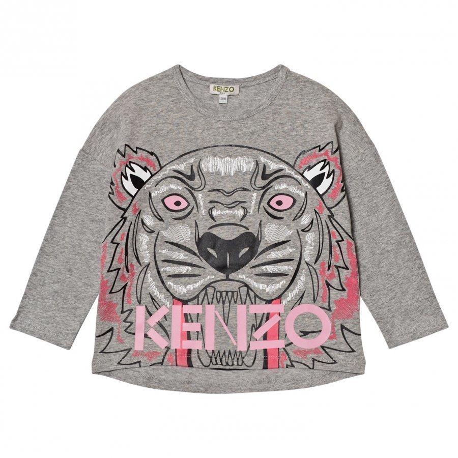 Kenzo Grey Marl Large Tiger Print Tee Pitkähihainen T-Paita