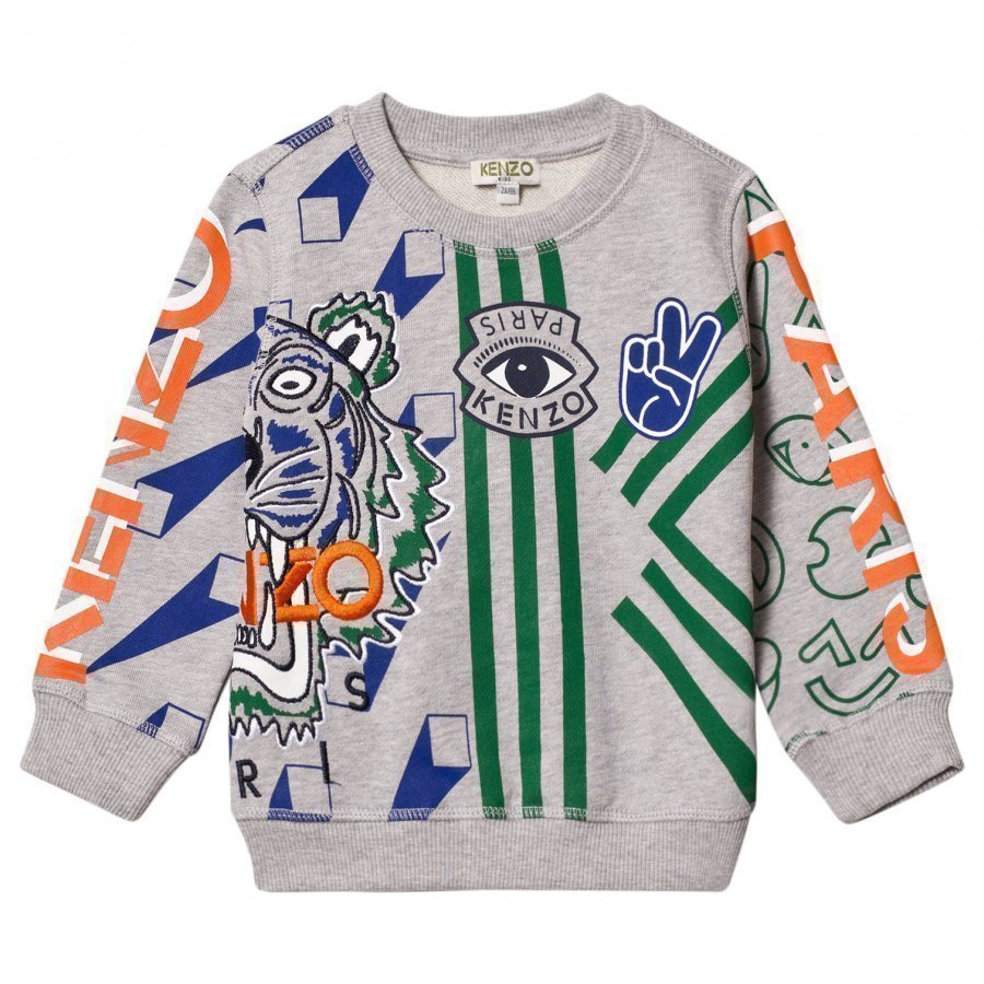 Kenzo Grey Marl Multi Icons Print And Embroidered Sweatshirt Oloasun Paita