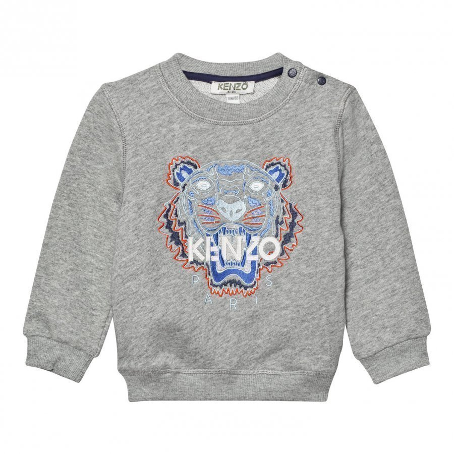 Kenzo Grey Marl Tiger Embroidered Sweatshirt Oloasun Paita