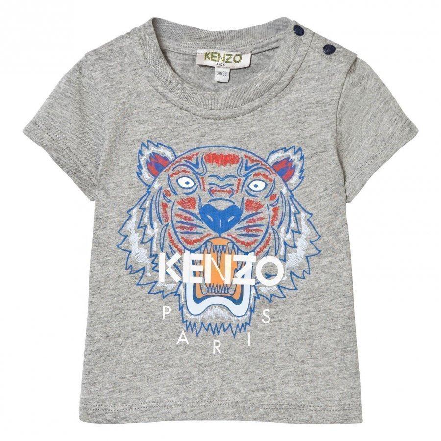 Kenzo Grey Marl Tiger Print Tee T-Paita