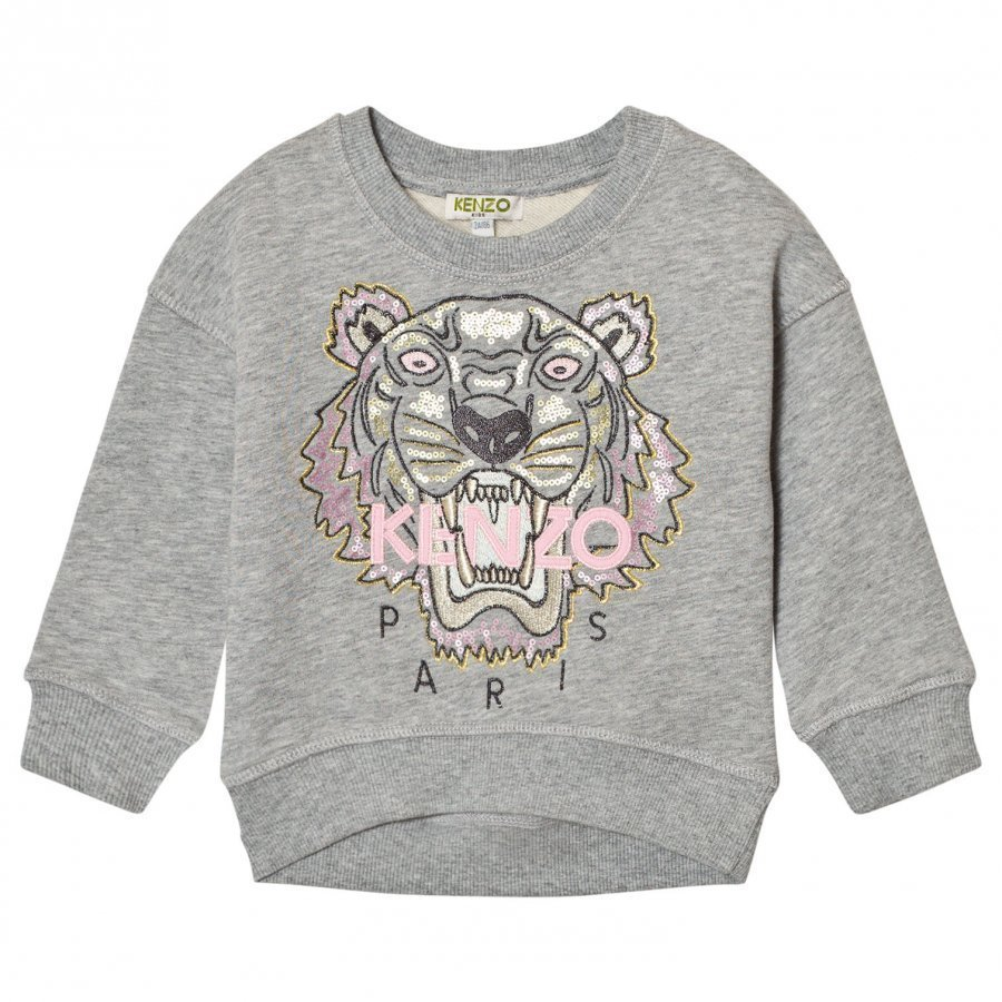 Kenzo Grey Sequin Embroidered Tiger Sweatshirt Oloasun Paita