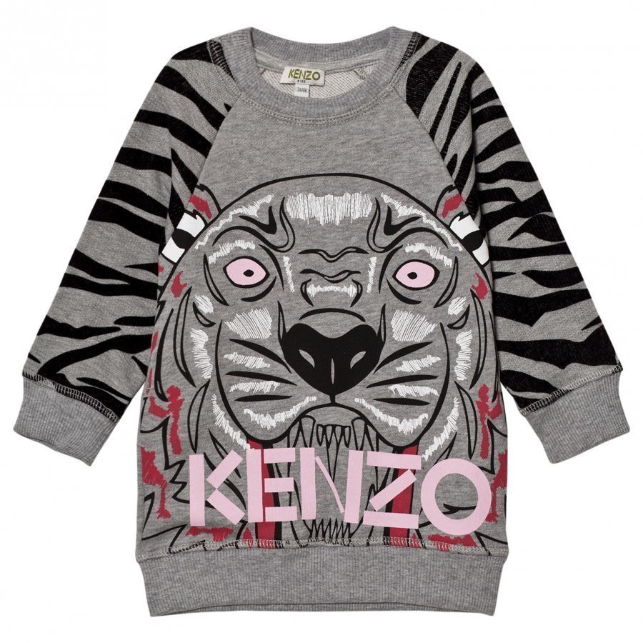 Kenzo Grey Tiger Print Sweater Dress Mekko