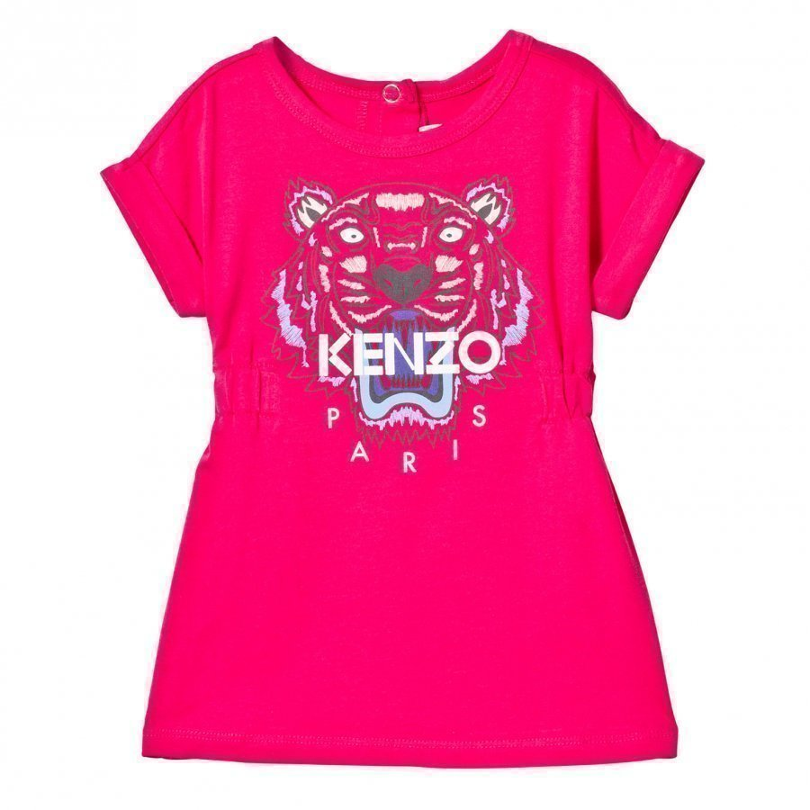 Kenzo Hot Pink Tiger Print Jersey Dress Mekko