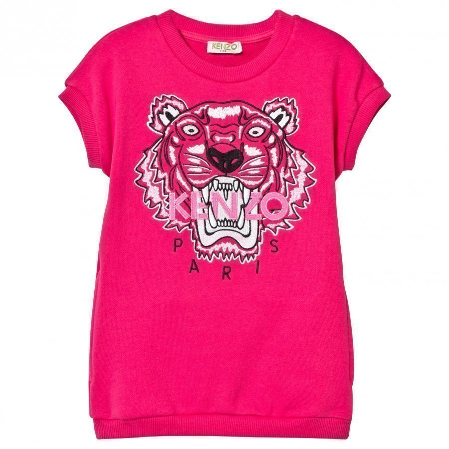 Kenzo Hot Pink Tiger Print Sweatshirt Dress Mekko