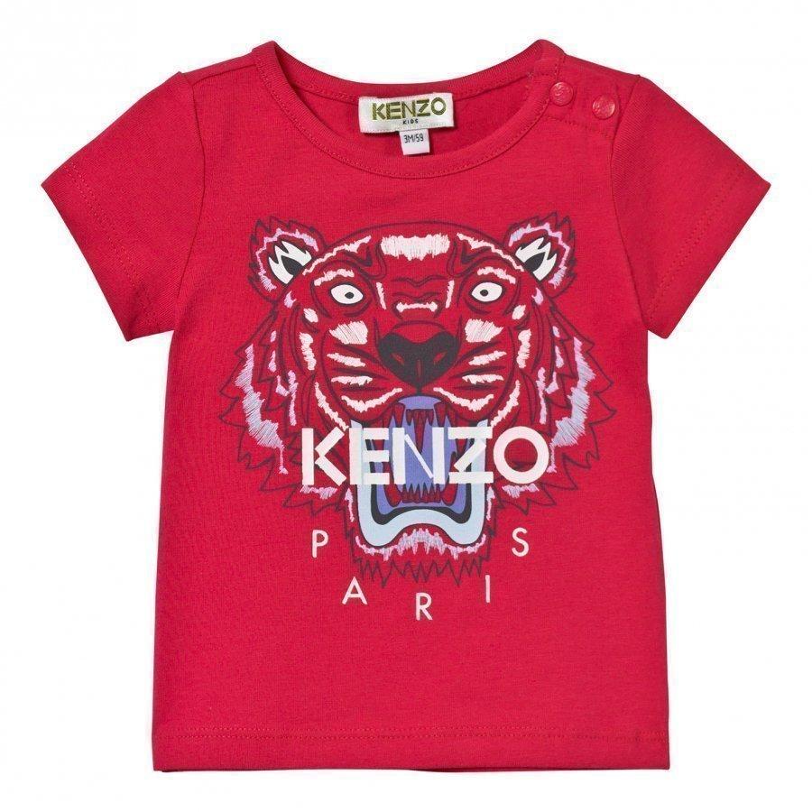 Kenzo Hot Pink Tiger Print Tee T-Paita
