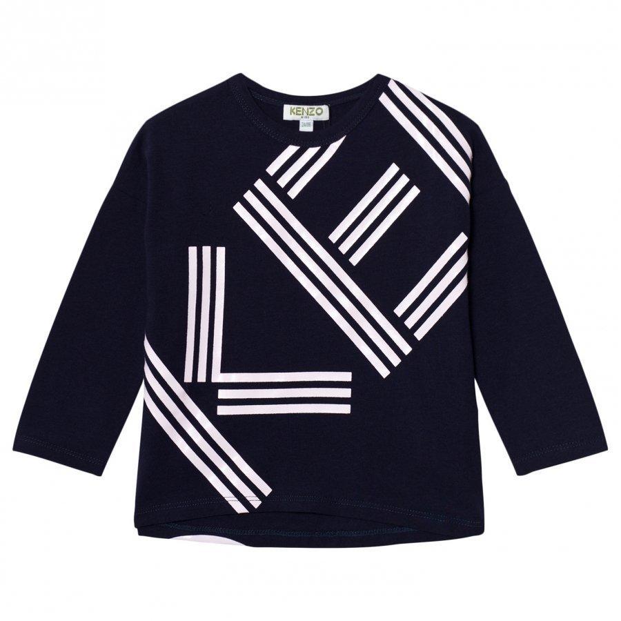 Kenzo Navy Branded Long Sleeve Tee Pitkähihainen T-Paita