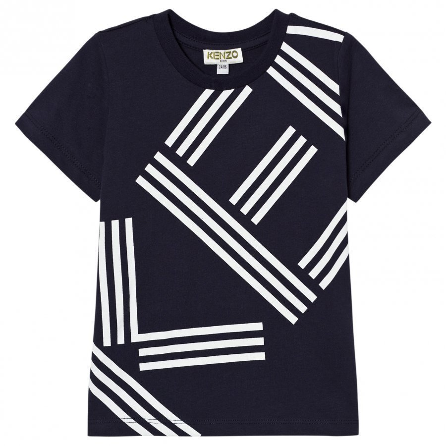 Kenzo Navy Logo Front And Back Print Tee T-Paita
