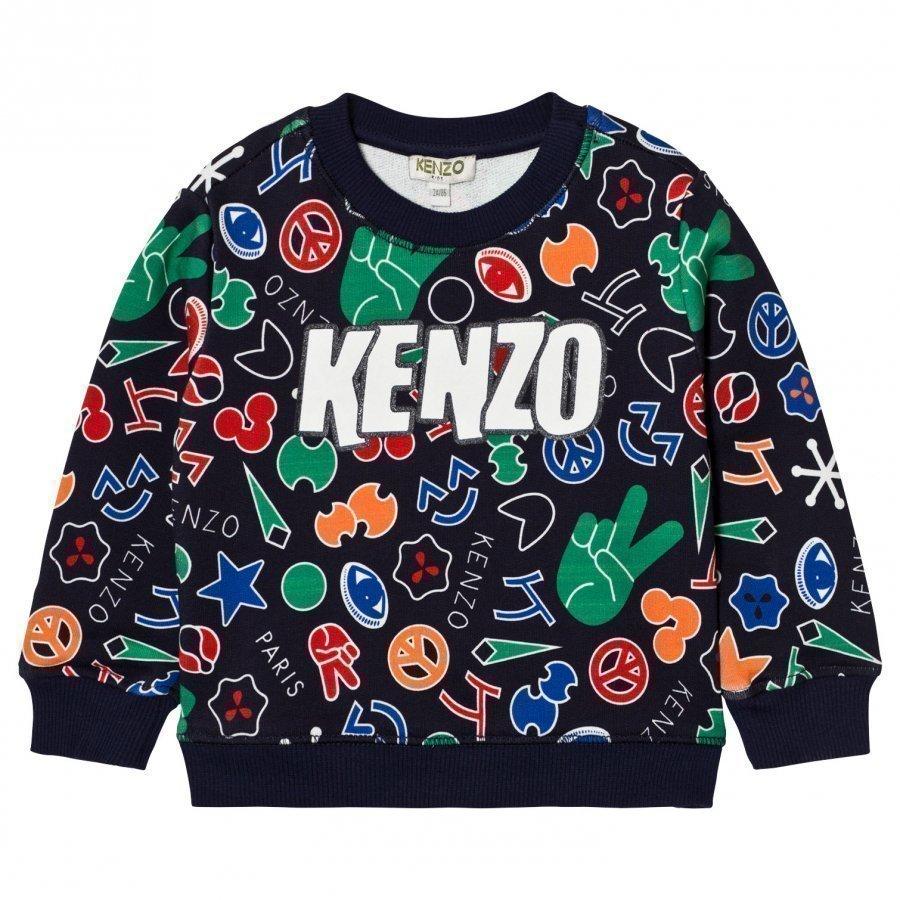 Kenzo Navy Multi All Over Logo Print Sweatshirt Oloasun Paita