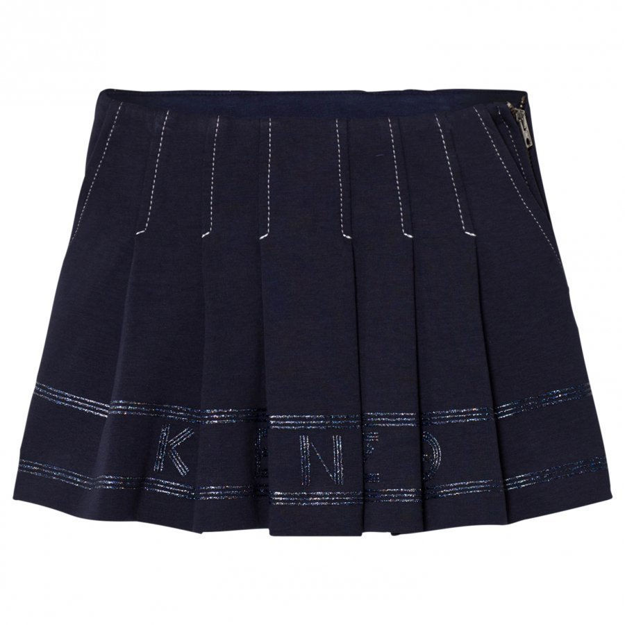 Kenzo Navy Pleated Logo Skirt Kellohame