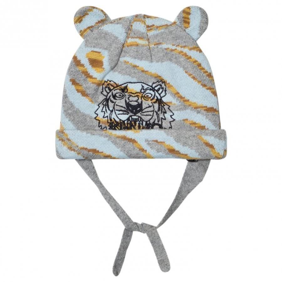 Kenzo Pale Blue Tiger Embroidered Beanie With Ears Pipo
