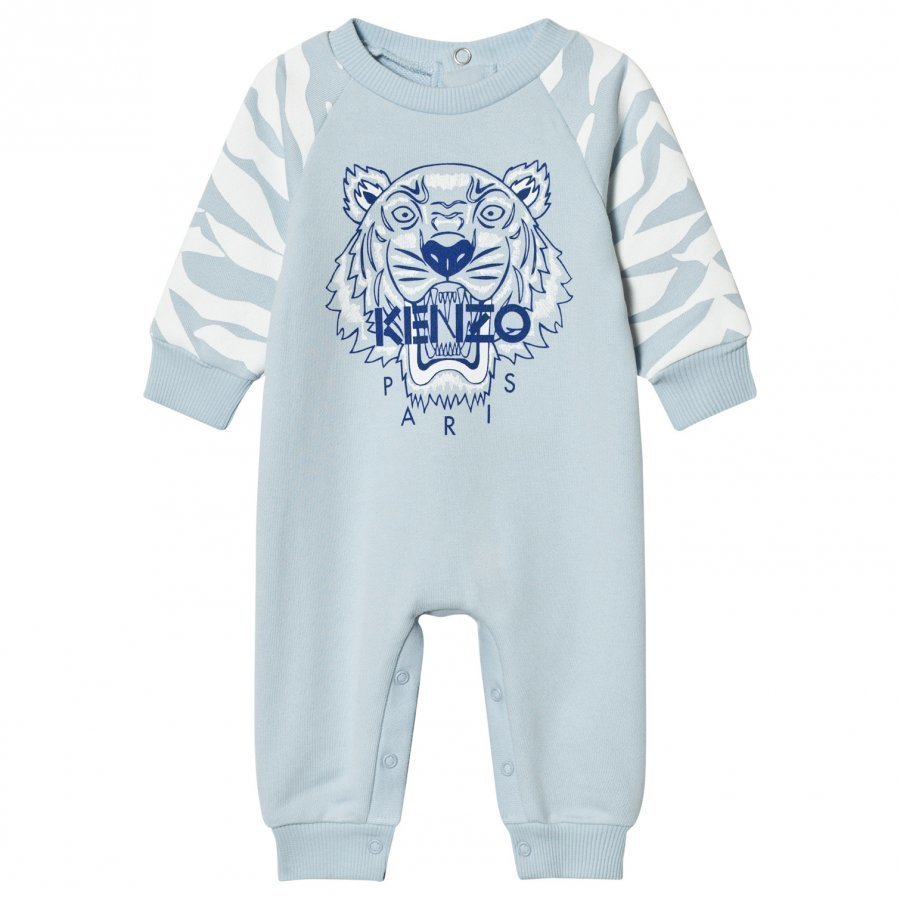 Kenzo Pale Blue Tiger Sweat Footless Baby Onesie Body