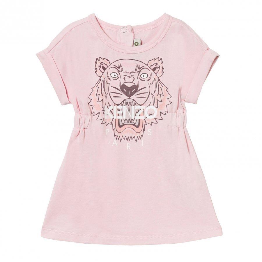 Kenzo Pale Pink Tiger Print Jersey Dress Mekko