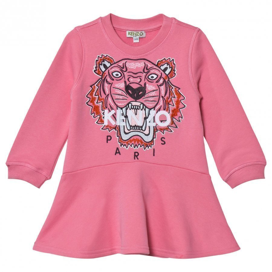 Kenzo Pink Embroidered Tiger Sweat Dress Mekko