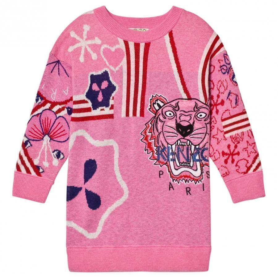Kenzo Pink Knit Multi Tiger Motif Dress Mekko