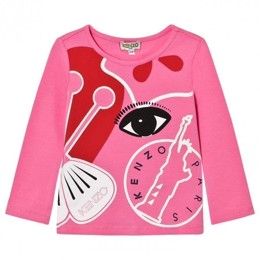 Kenzo Pink Multi Tiger Long Sleeve Tee Pitkähihainen T-Paita
