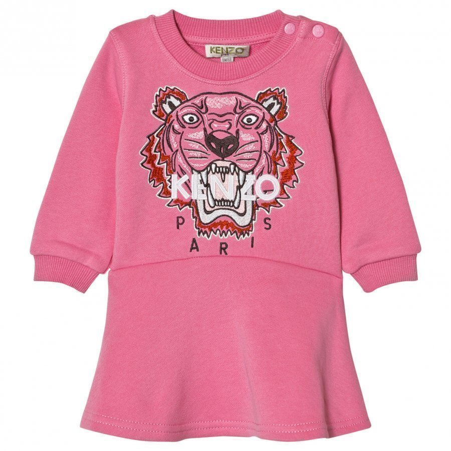 Kenzo Pink Tiger Embroidered Sweat Dress Mekko