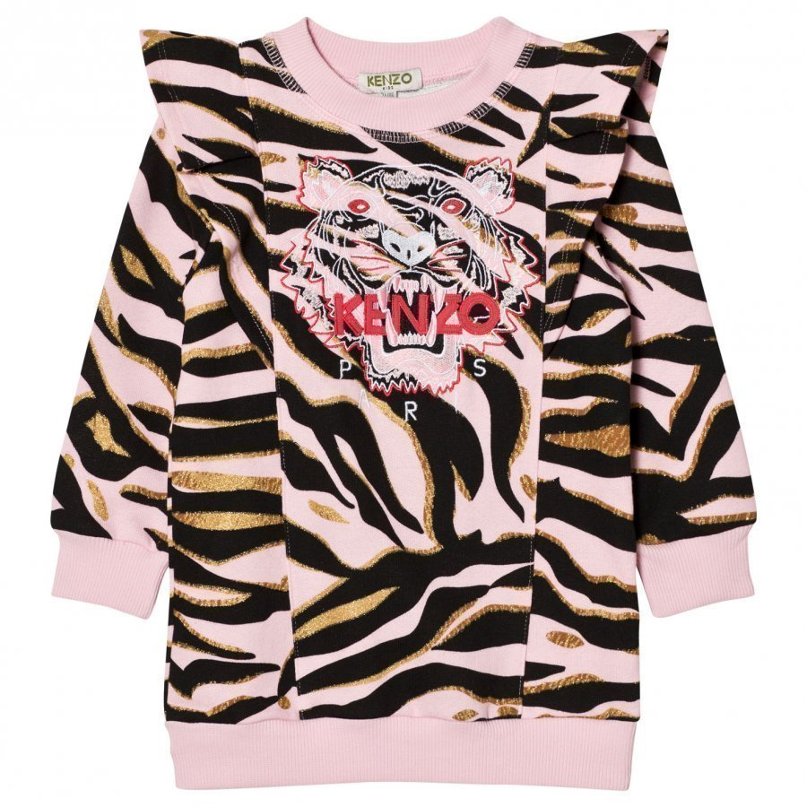 Kenzo Pink Tiger Print Frill Shoulder Sweat Dress Mekko