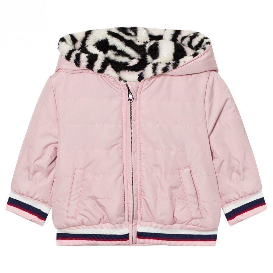 Kenzo Pink Tiger Print Reversible Puffer Coat Toppatakki