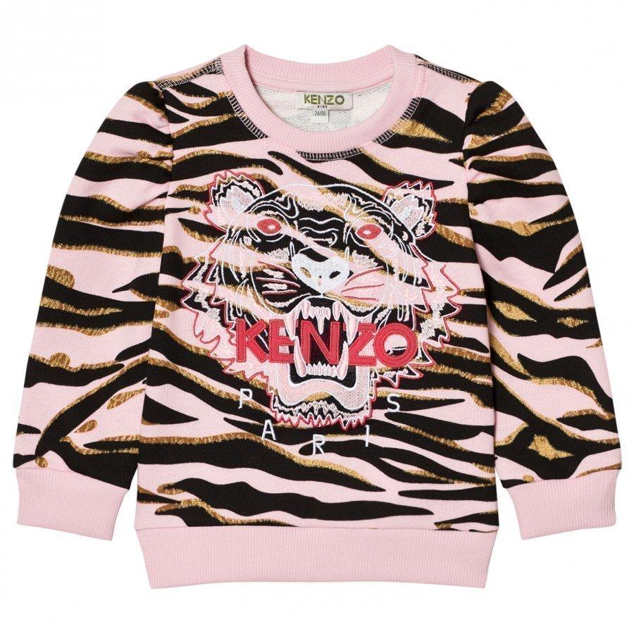 Kenzo Pink Tiger Print Sweatshirt Puff Sleeves Oloasun Paita