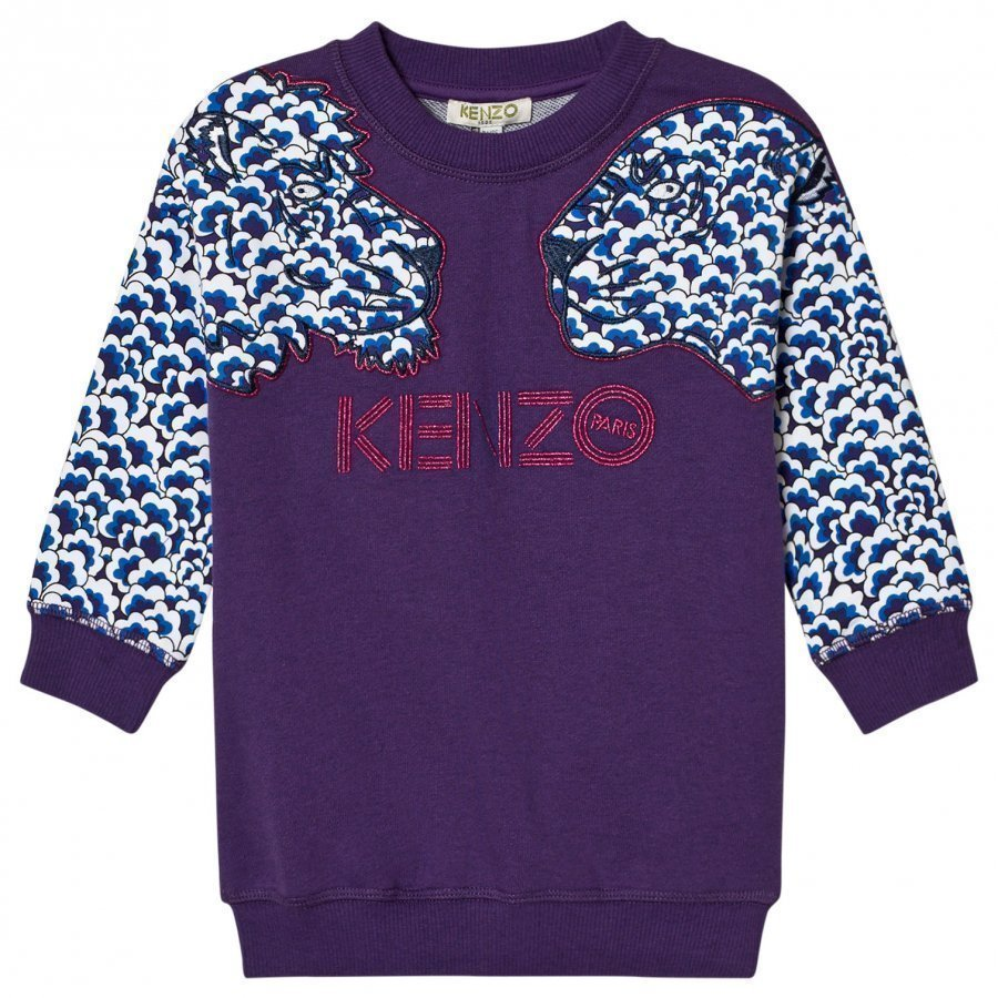 Kenzo Purple Cloud Tiger Sweater Dress Mekko