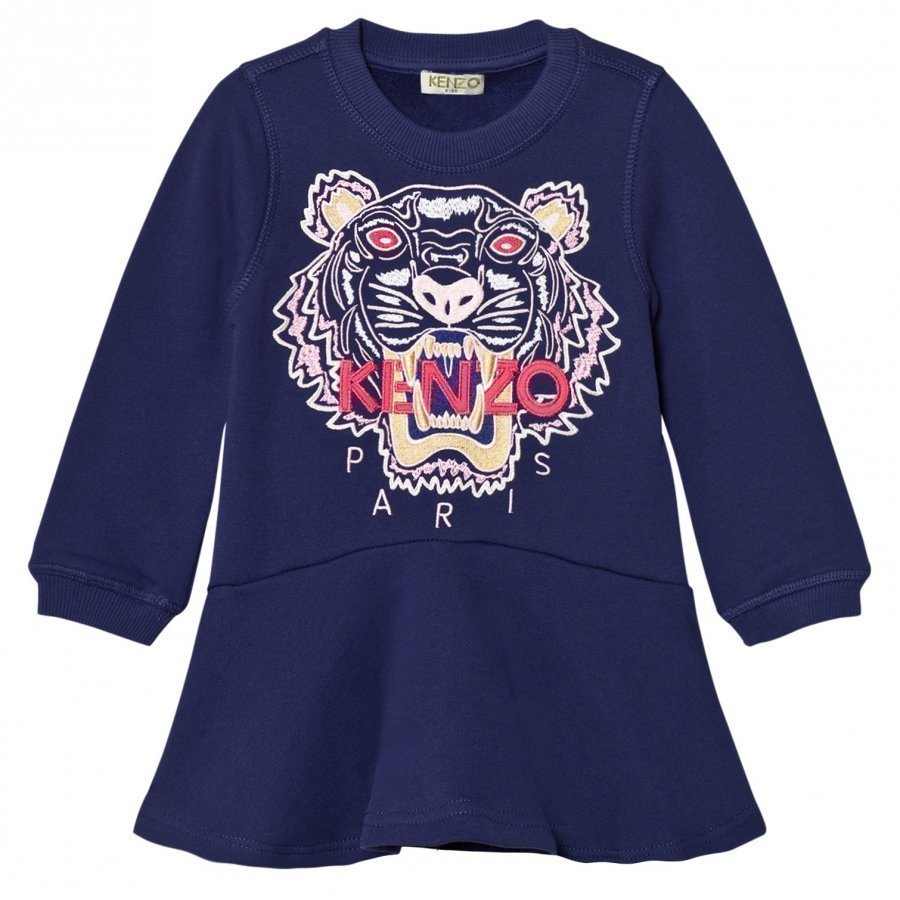 Kenzo Purple Embroidered Tiger Sweat Dress Mekko