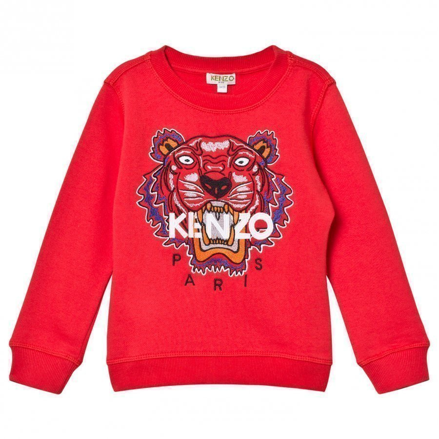 Kenzo Red Embroidered Tiger Sweatshirt Oloasun Paita