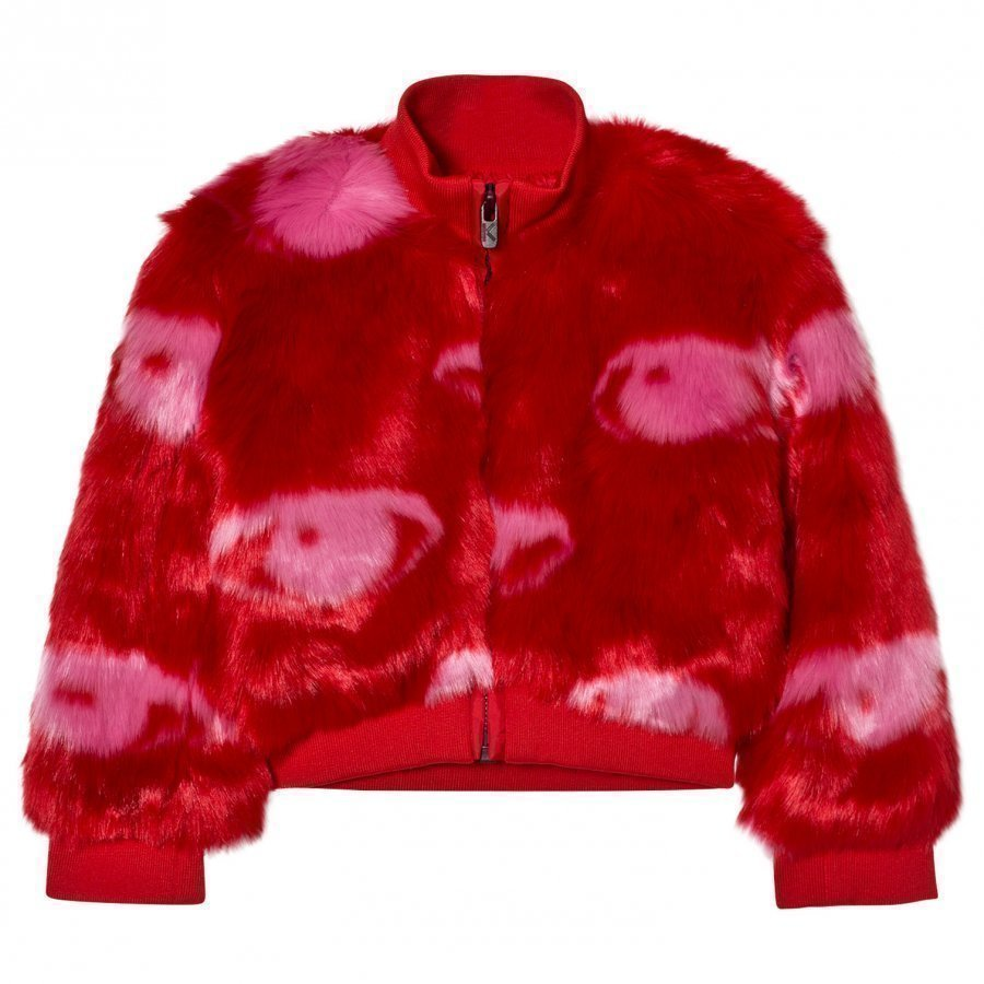 Kenzo Red Eye Print Faux Fur Bomber Jacket Turkis