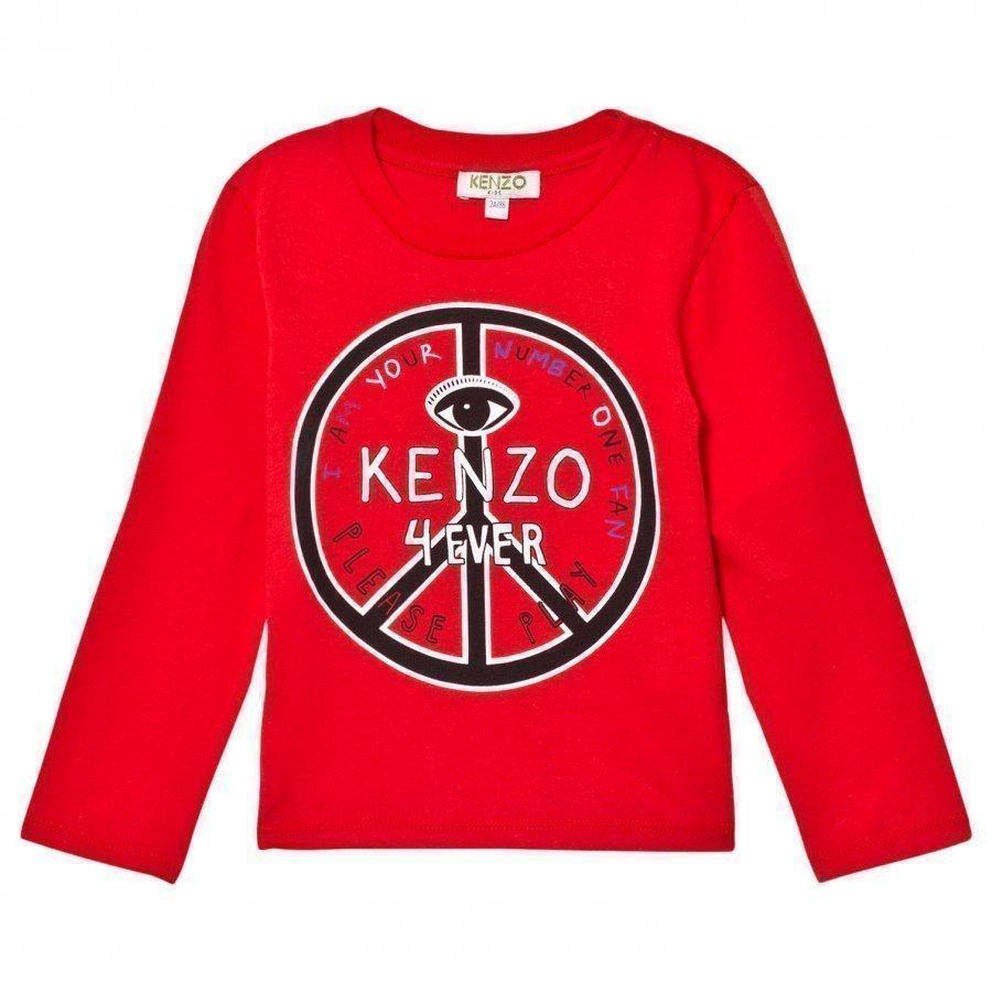 Kenzo Red Peace Sign Print Tee Pitkähihainen T-Paita
