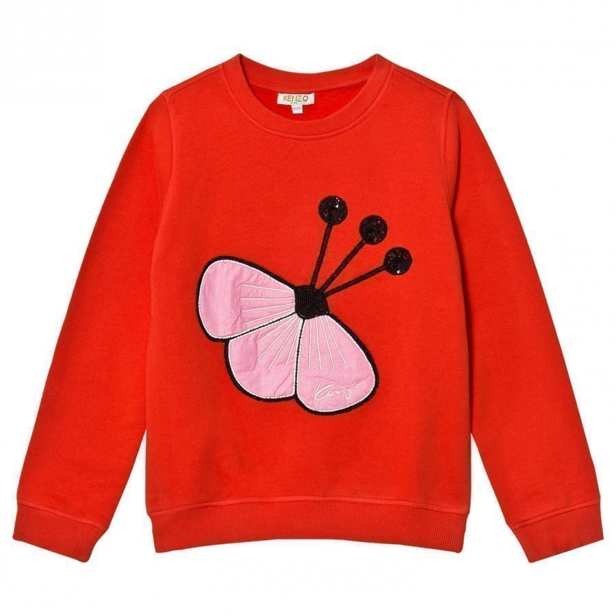 Kenzo Red Sequin Flower Embroidered Sweatshirt Oloasun Paita