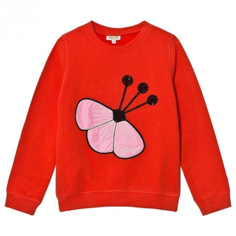 Kenzo Red Sequin Flower Embroidered Sweatshirt Oloasun Paita