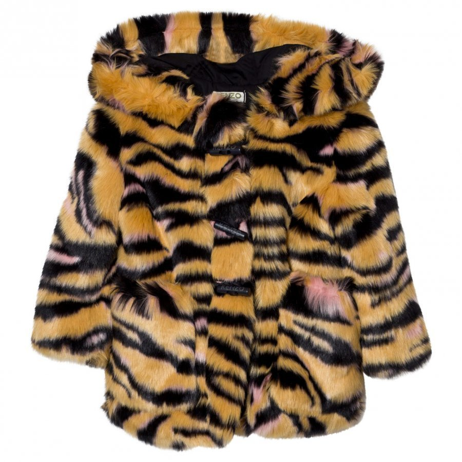 Kenzo Tan Tiger Print Faux Fur Hooded Parka Turkis