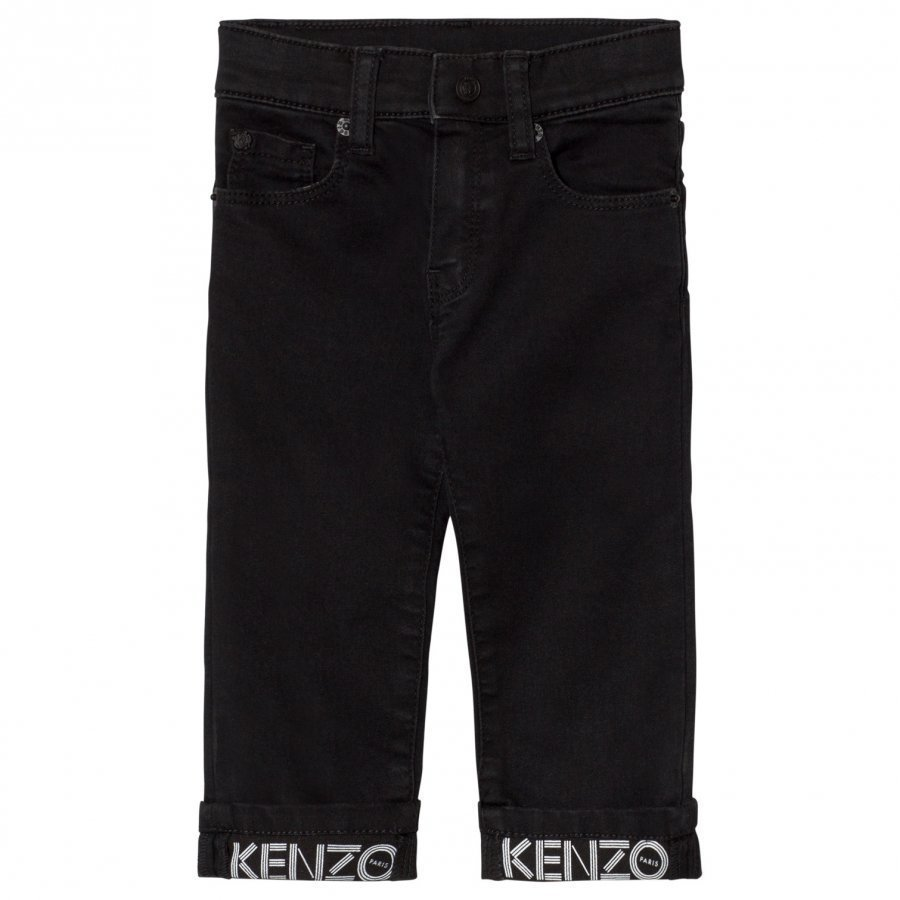 Kenzo Washed Black Branded Turn Up Jeans Farkut