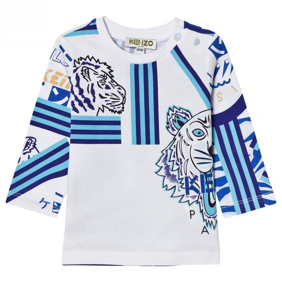 Kenzo White All Over Icons Print Long Sleeve Tee Pitkähihainen T-Paita