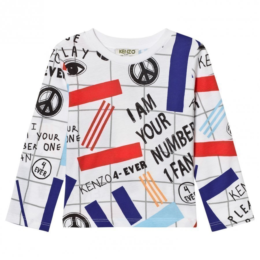 Kenzo White All Over Print Long Sleeve Tee Pitkähihainen T-Paita