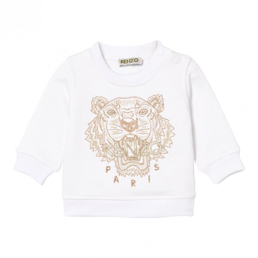 Kenzo White And Gold Embroidered Sweatshirt Oloasun Paita